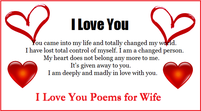 I Love You Poems for my Wife